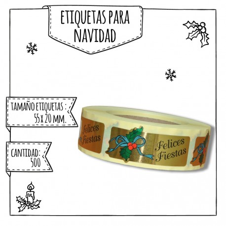 "ETIQUETA ""FELICES FIESTAS"" – 55 X 20 MM"