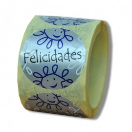 "ETIQUETA ""FELICIDADES"" – 45 Ø MM"