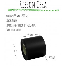 ROLLO RIBBON 055x300 NEGRO CERA