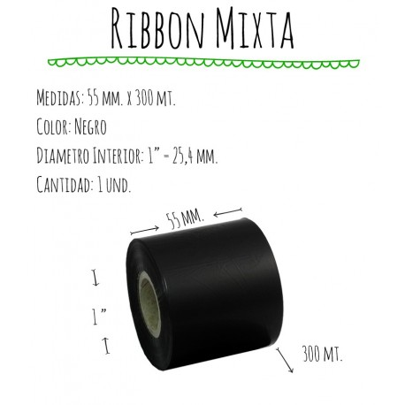 ROLLO RIBBON 055x300 NEGRO MIXTA
