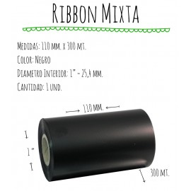 ROLLO RIBBON 110x300 NEGRO MIXTA