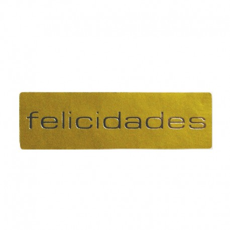 Etiqueta Rectangulares oro Felicidades