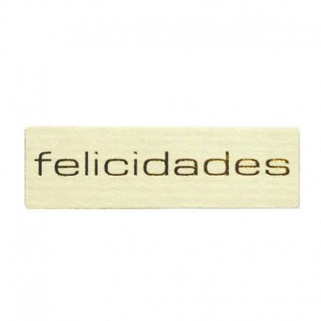 Etiqueta Rectangulares plata Felicidades