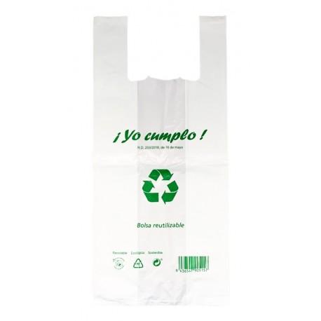 BOLSA CAMISETA BLANCA 70% RECUPERADO - 42x55 cm