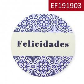 """Etiqueta """"Azul Felicidades"""""""
