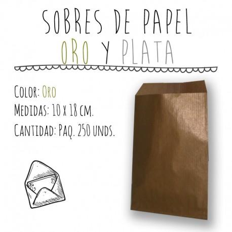 SOBRES DE PAPEL ORO Y PLATA