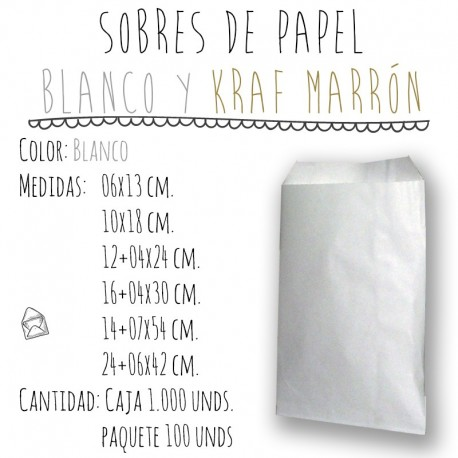 SOBRES DE PAPEL EN BLANCO Y KRAFT MARRÓN