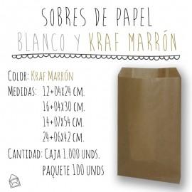 SOBRES DE PAPEL EN BLANCO Y KRAFT MARRÓN